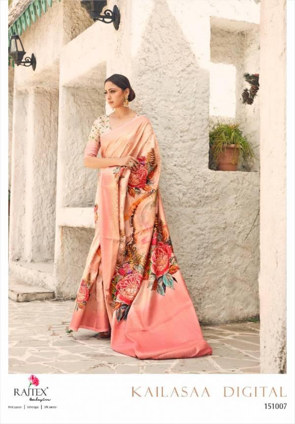 Rajtex Kailasaa Digital Series 151001-151008 Latest Designer Weaving Digital Print Silk Trendy Look Sarees Collection