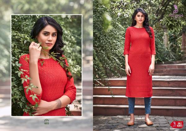 Poonam Lucknowi Pure Rayon Sequins Work Fancy Kurtis Collection