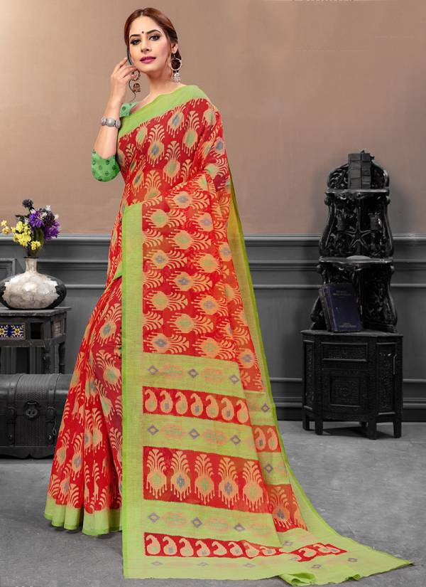 Ishika Kimona Series 01Kima-06Kima Stylish Look Brasso Printed Daily Wear Sarees Collection