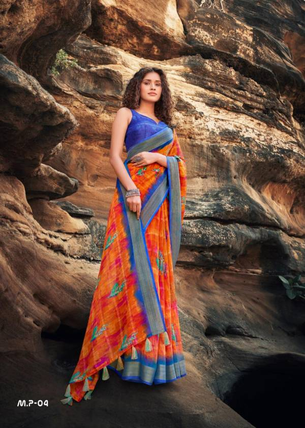 Shreyans Fashion Manyawar Pattu Linen With Printed Fancy Sarees Collection