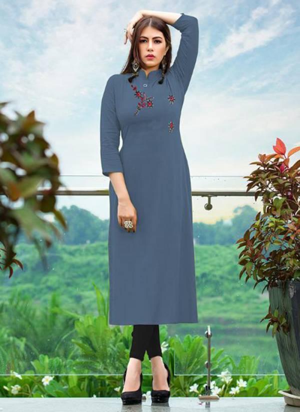 Majisha NX Albeli Series 1001MA-1010MA Rayon Slub With New Fancy Hand Work Straight Cut Daily Wear Kurtis Collection