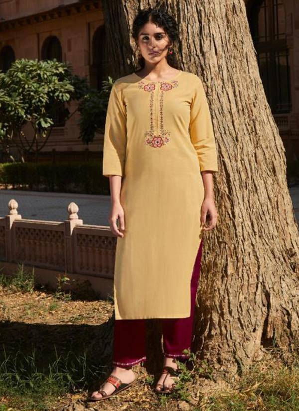 Four Button Rozana-2 Series 1561-1568 Cotton Dobby Pant With Embroidery Mirror Work Daily Wear Kurti Collections