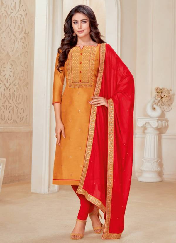 Kapil Tex Goldcoin Modal Silk With Fancy Work Festival Wear Salwar Suits Collection