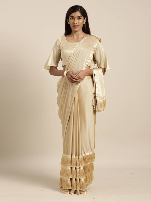 KVS Swaroop Georgette With Designer Fancy Stylish Ruffle Sarees Collection