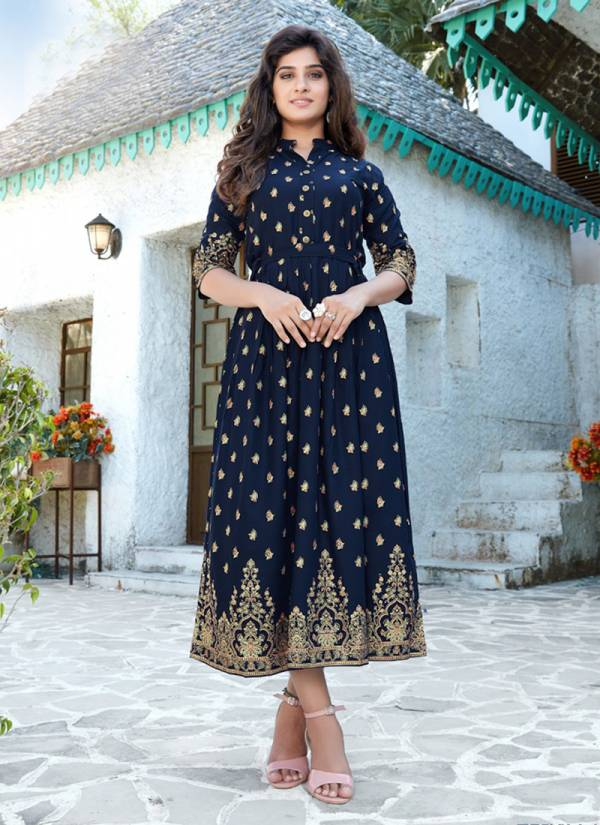 Vee Fab V-Desi Series 101-106 Rayon Foil Printed Designer Casual Wear Long Gowns Collection