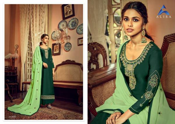 Alisa Sarina Satin Georgette With Heavy Embroidery Work Festival Wear Suits Collection