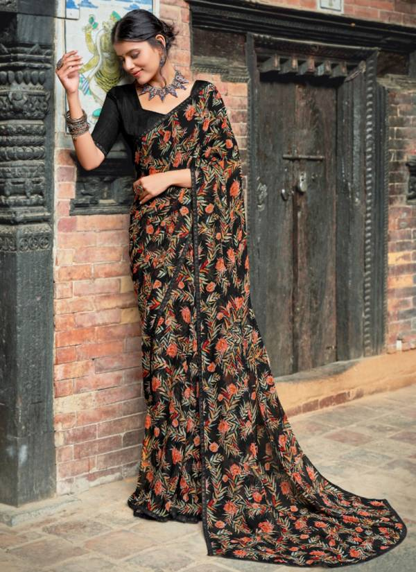 Kashvi Creation Ryka Series 37001-37010 Georgette With Swarovski Lace Work Casual Wear Sarees Collection