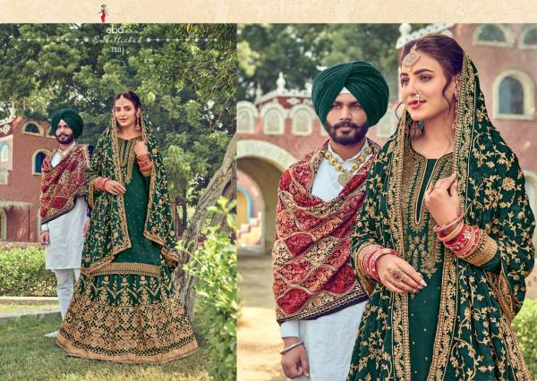 Eba Lifestyle Gulabi Rang Series 1200-1203 Pure Viscose Upada Silk With Khatli & Embroidery Work Eid Special Lehenga Suits Collection