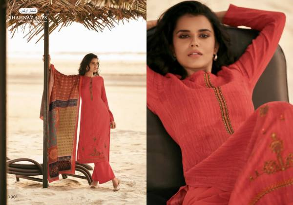 Shahnaz Arts Zarsha Series 1001-1008 Pashmina Print With Fancy Self Embroidery Work Casula Wear Suits Collection