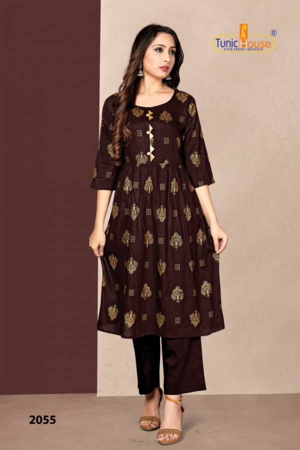 Neha Fashion New Pinch Series 2051-2056 Rayon Foil Printed Fancy Casual Wear Kurtis Collection