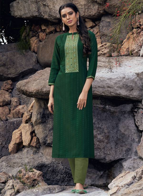 KVS Light Line Vol 5 Series 2721-2728 Fancy Lining Silk With Neck Work Straight Cut Kurtis Collection
