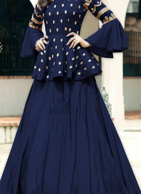 Designer Suit Slub Cotton Festive Wear Top With Skirts Collection