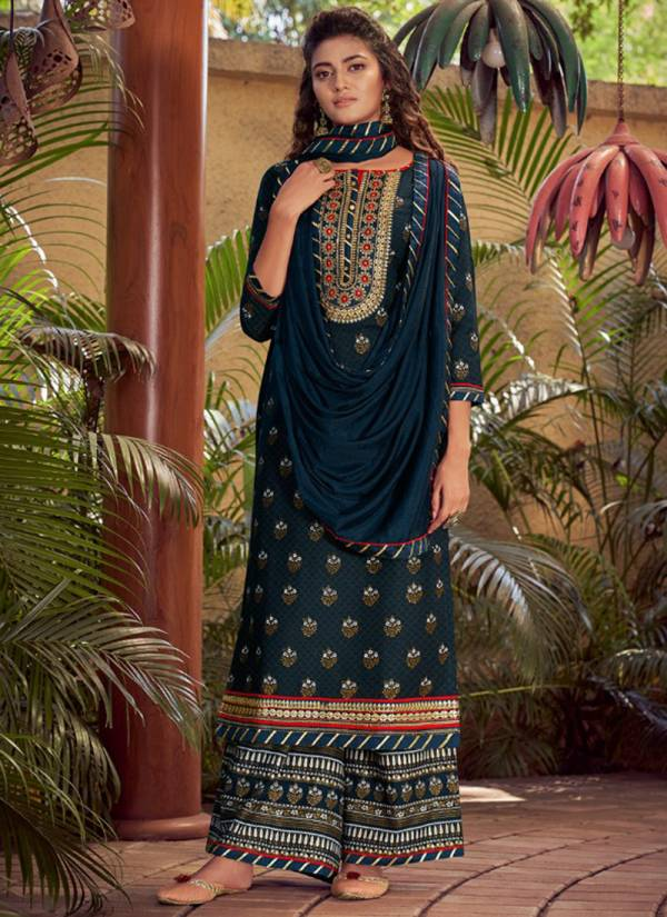 Rangoon Utsav Series 2631-2634 Heavy Rayon Foil Printed With Fancy Work Readymade Palazzo Suits Collection