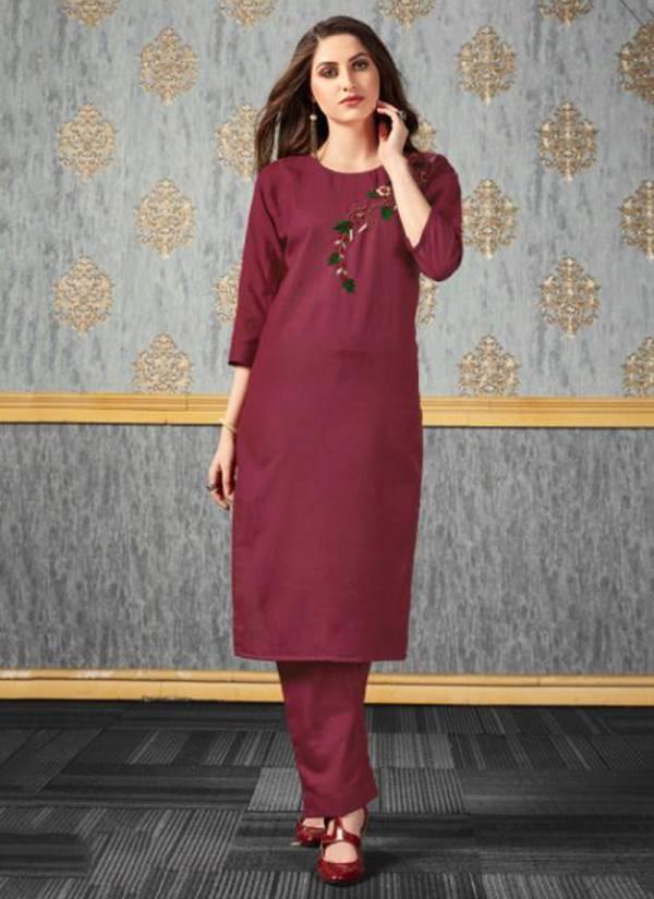 Venika Creation Rise Vol 1 Series 551-556 Cotton Silk Embellished Hand Work New Designer Kurtis With Pant Collection
