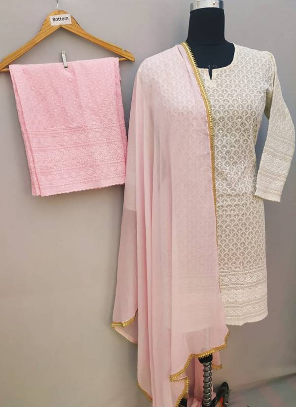 Vikash Eshan Cotton Chikankari Embroidery Work With Festival Wear Ready Made Designer Palazzo Suits Collection