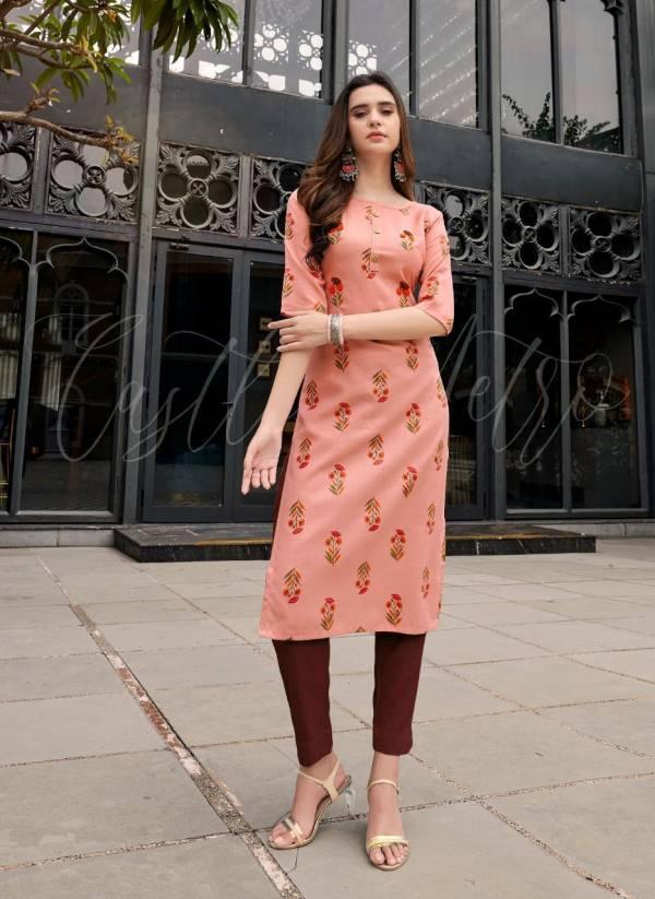 Riya Designer Aayat Cotton Slub With Foil Printed Kalimudi Hand Work Kurtis With Bottoms Collection