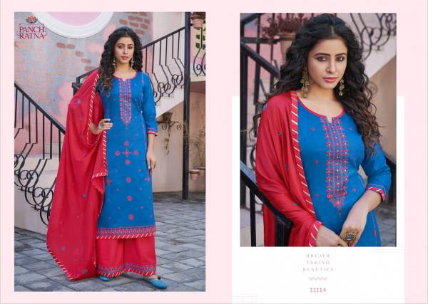 Panch Ratna Meraki Series 11111-11115 Jam Silk With Designer Embroidery Work New Fancy Palazzo Suits Collection