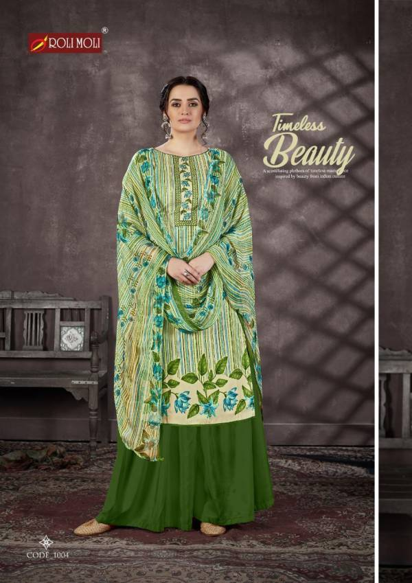 Roli Moli Heavy Indo Cotton Designer Print with Swarovski  Diamond with Additional Work Suit Material Collection