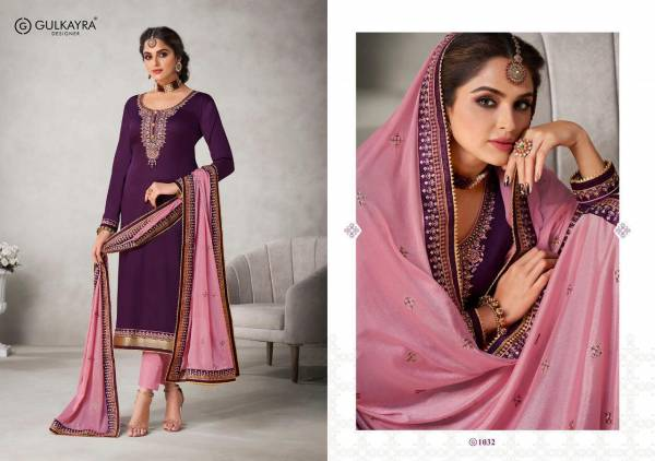 Gulkayra Designer Khanak Series 1031-1036 Jam Silk With New Designer Heavy Embroidery & Sequence Work Party wear Suits Collection