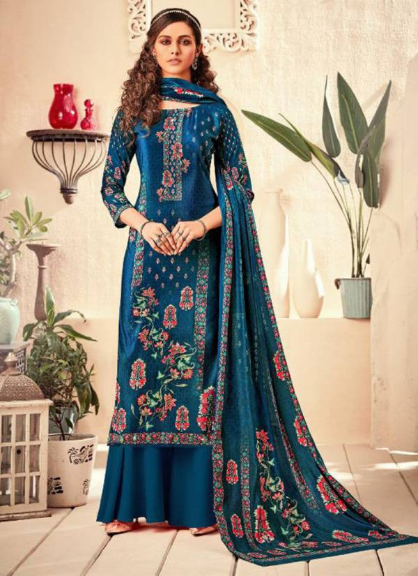 Neha Fashion Tamanna Series 81001-81006 Velvet Digital Printed With Additional Hand Work Latest Designer Casual Wear Palazzo Suits Winter Collection