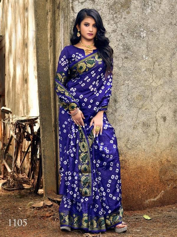 Nakshatra Fashion Studio Bandhani  Saree vol-2 Series 1101-1106 Latest Designer Art Silk With Fancy Jacquard Border Party Wear Sarees Collection