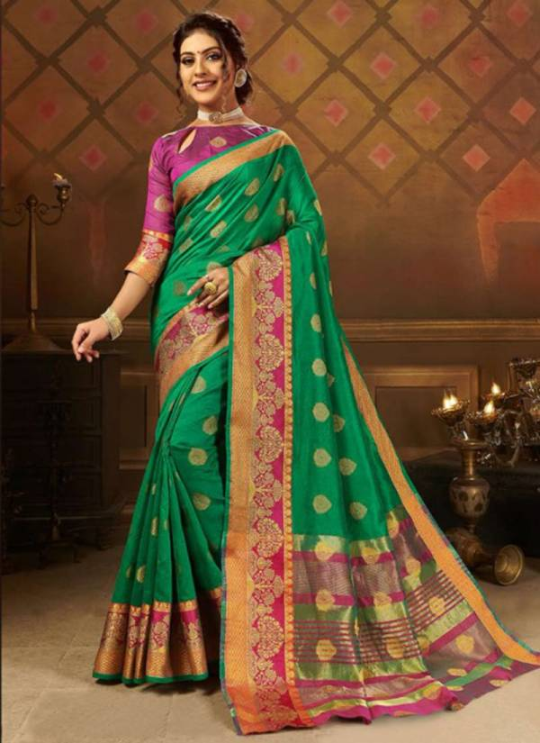 Saroj Aayat Crystal Jacquard Silk With Viscose Butta Wedding And Party Wear Sarees Collection