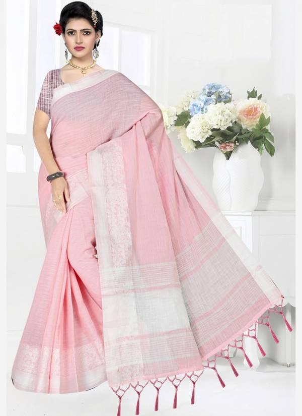 Vamika Fashion Linen Gala Keri Series 3404-3409 Pure Linen New Designer Casual Wear Sarees Collection