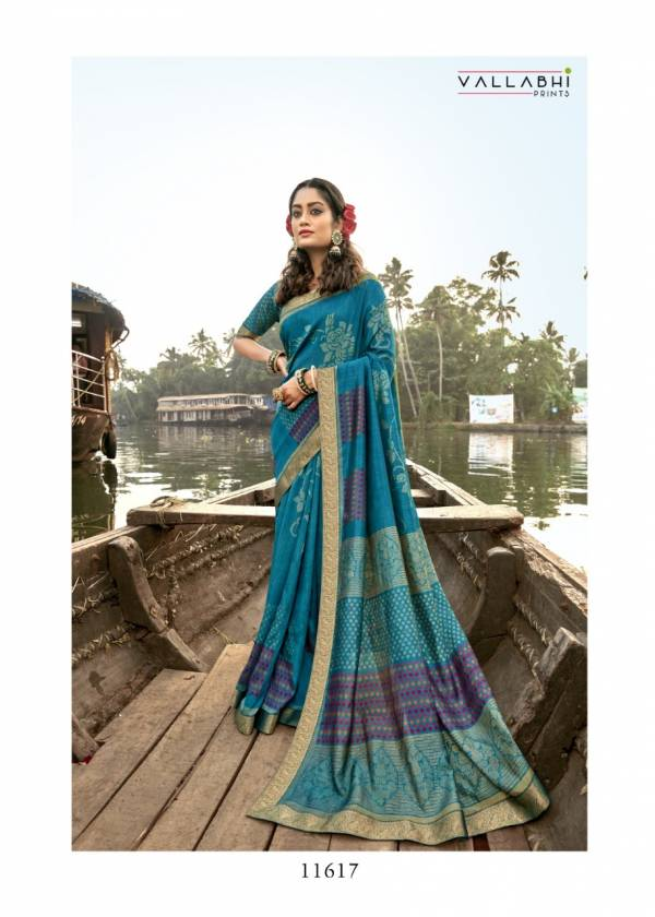 Vallabhi  Athena-02 Vichitra Silk Fancy Floral Printed Work Reception Wear Designer Sarees Collection