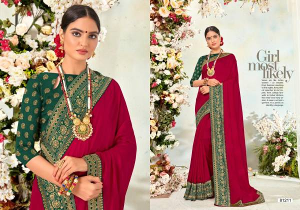 Right Women Designer Nalli Silk Vichitra Silk Jacquard With Lace Work Party Wear Sarees Collection