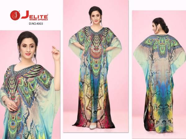 Jelite Kaftans Vol 4 Smooth Satin Fancy Digital PrintEd Work Kaftans Collection