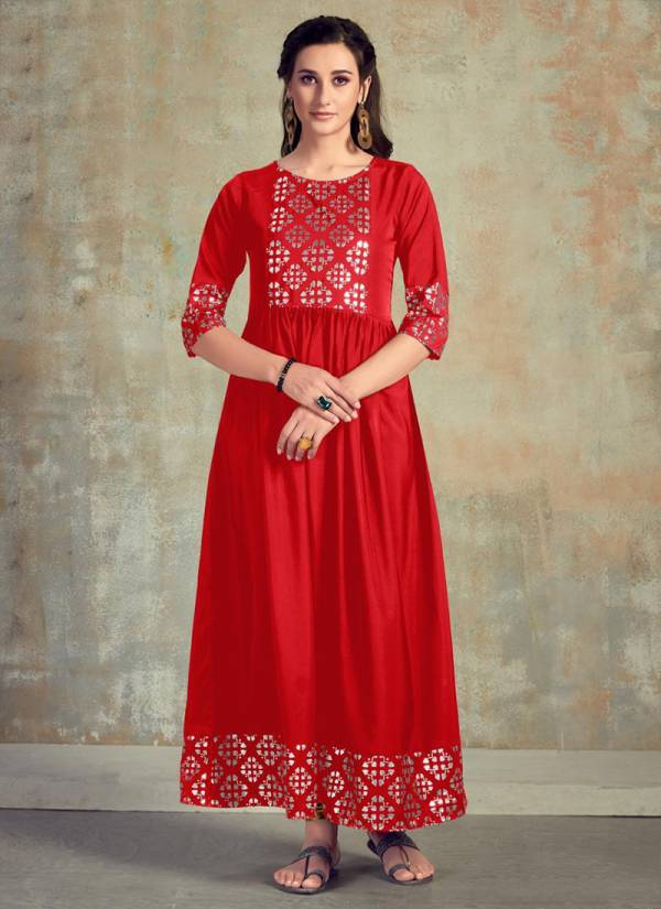 Poonam Designer Muskan Series 101-105 Soft Crepe With Heavy Foil Printed Gown Style Casual Wear Kurtis Collection