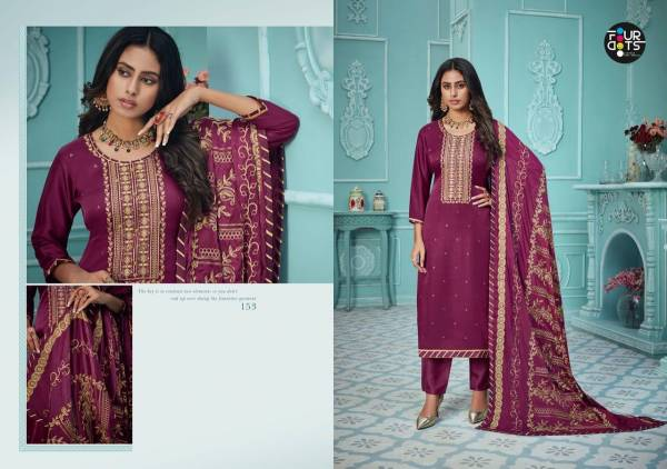 Four Dots Nayra Pure Modal Satin With Work Straight Suits Collection