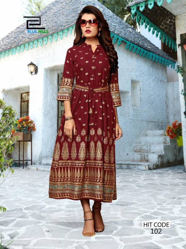 Blue Hills Walkway Hit Series 101-110 Rayon With Foil Printed Latest Designer Fancy Gown Style Kurti Collection