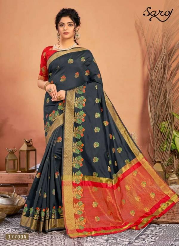 Saroj Tejaswini Lichi Silk With Banarasi Jacquard Border Traditional Wear Sarees Collection