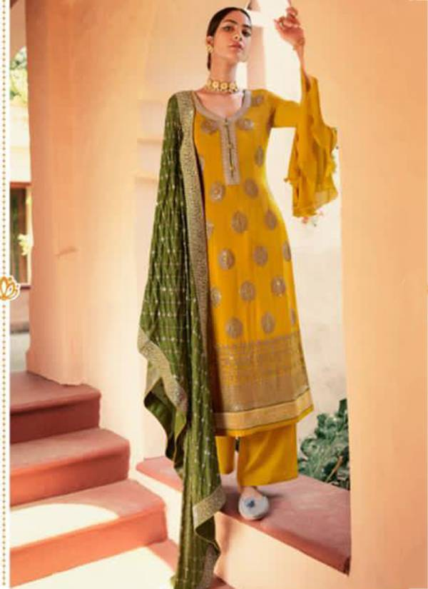 Glossy Fashion Safa Series 8118-8121 Pure Chinon Sequins Embroidery Work Latest Designer Festival Wear Palazzo Suits Collection