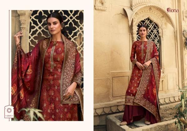 Fiona Saanvi Pure Dola Jacquard Digital Print Party Wear Palazzo Suits Collection