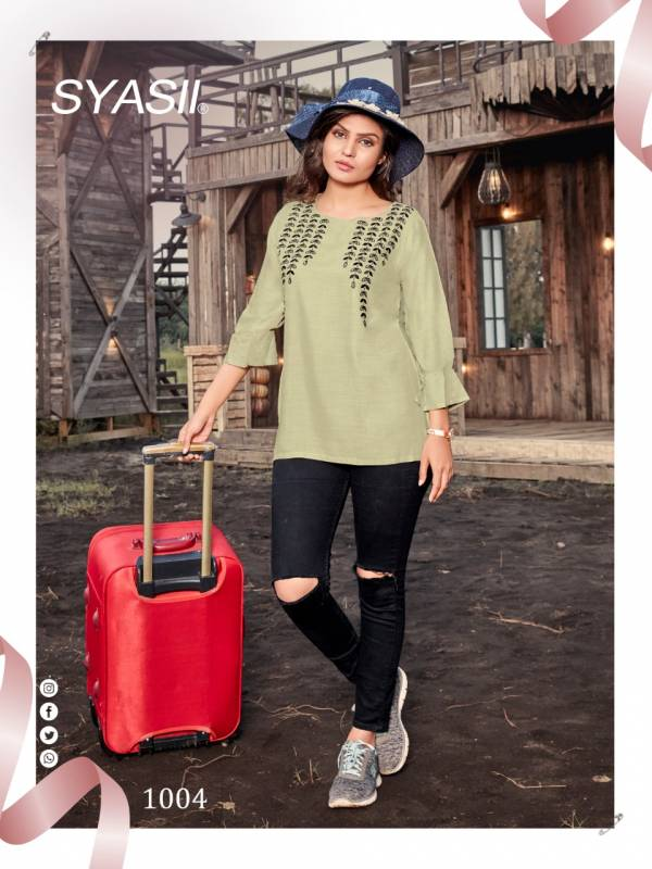 Syasii Clestia Series 1001-1006 Heavy Rayon Slub With Latest Embroidery Work Casual Wear Tops Collection