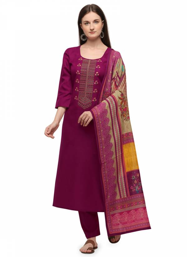 KVS Coloubar Cotton With Fancy Embroidery Work Casual Wear Palazzo Suits Collection