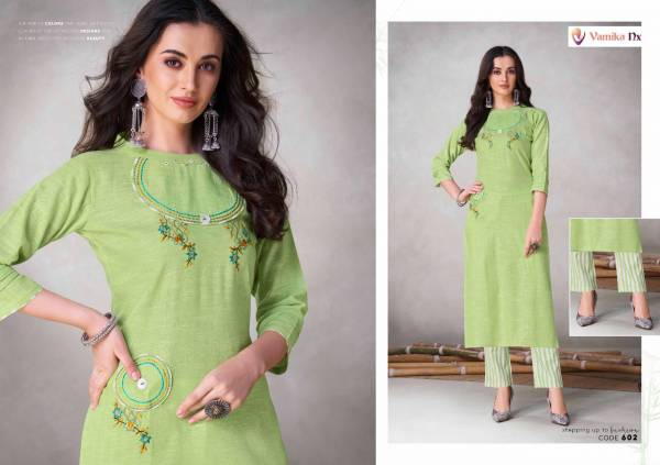 Vamika NX Apsara Series 601-604 Premium Cotton With Self Weaved Straight Cut Kurtis With Pants Collection