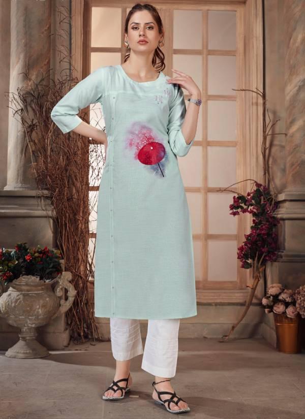 Banwery Baby Girl Heavy Premium Cotton With Digital Print And Hand Work Regular Wear Designer Kurti Collection