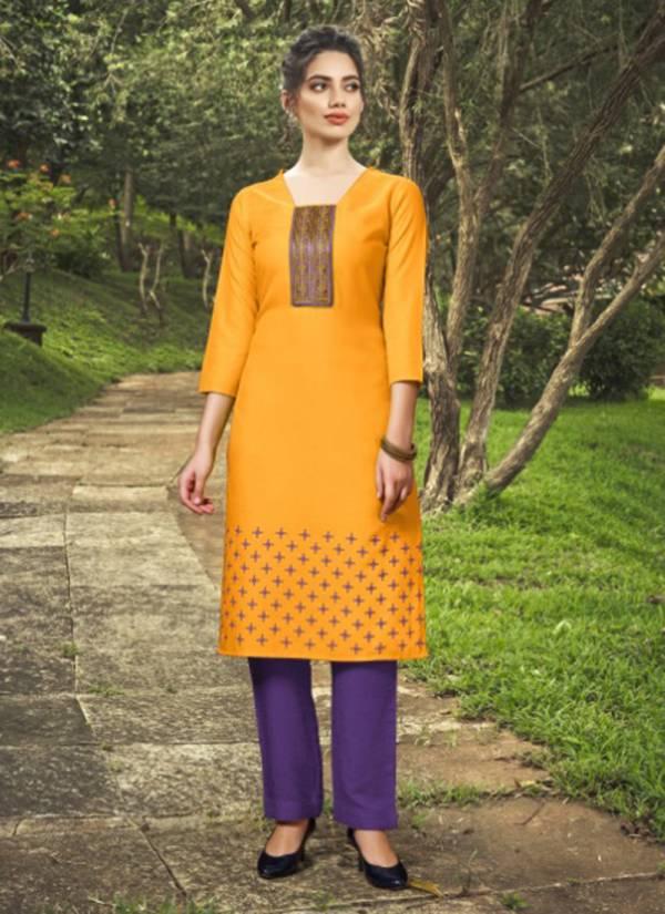 Nitisha NX Chingari Vol 3 Series 3001-3010 Heavy Soft Cotton Slub With Fancy Embroidery Work New Look Kurti Collection