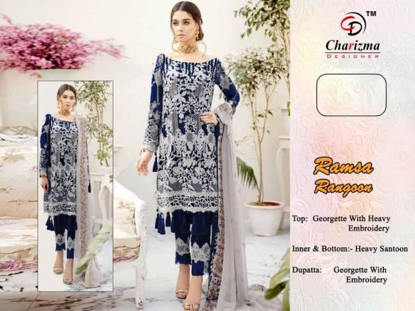 Charizma Designer Ramsha Rangoon Georgette With Fancy Work Pakistani Suits Collection