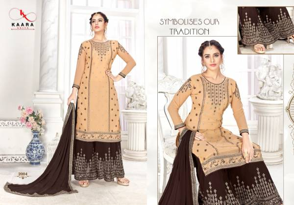 Kaara Suits Simran Series 2001-2004 Faux Georgette With Heavy Embroidery & Fancy Diamond Work Palazzo Suits Collection