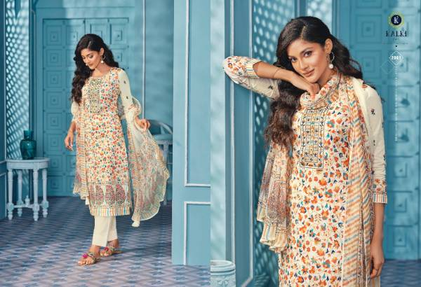 Kalki Fashion Fanna Pure Cotton Kani Print Hand Work Designer Suit Collection