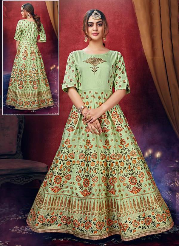 Tips & Tops Mayree Series 001-004 Fancy Chanderi Gold Foil Print With Sequence,Embroidery And Hand Work Gown Collection