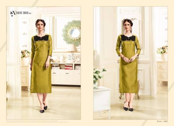 Shubh NX Alishka Series 1001SA-1006SA Dobby Handloom Straight Cut New Fancy Regular Wear Kurtis Collection