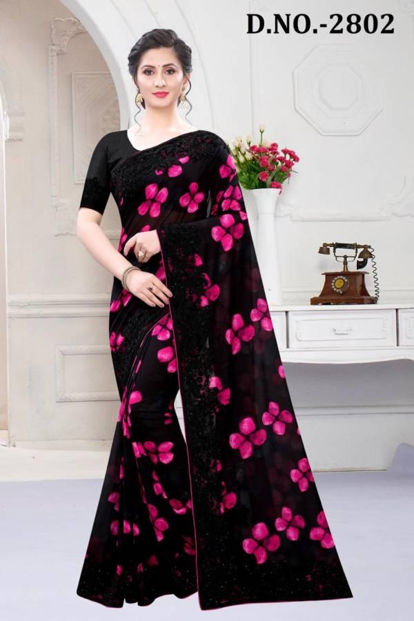 Nari Fashion Tanisha Series 2801-2806 Satin Georgette Digital Printed & Stone Work Party Wear Sarees Collection