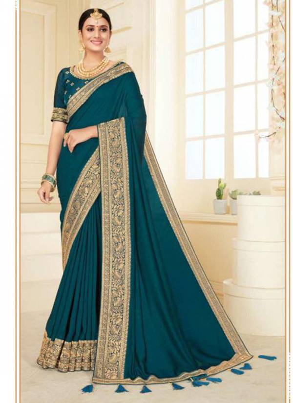 Kavira Anupama Heavy Vichitra Silk With Heavy Designer Broder Party Wear Designer Sarees Collection
