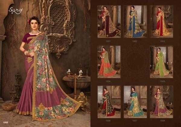 Saroj Ruchika Half N Half Lycra With Digital Printed Fancy Sarees Collection
