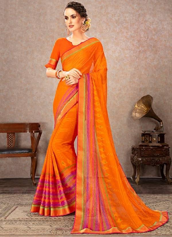 Ishika Shubham Series 521-534 Chiffon Brasso Printed New Fancy Regular Wear Sarees Collection
